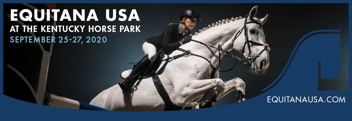 Gray horse jumping Equitana USA