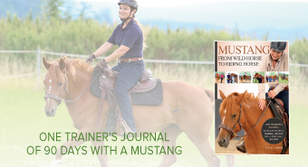 happy woman riding Mustang book