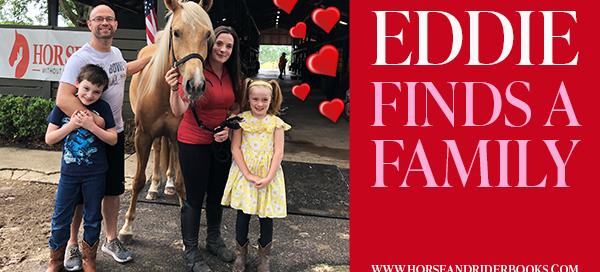 happy family with palomino horse
